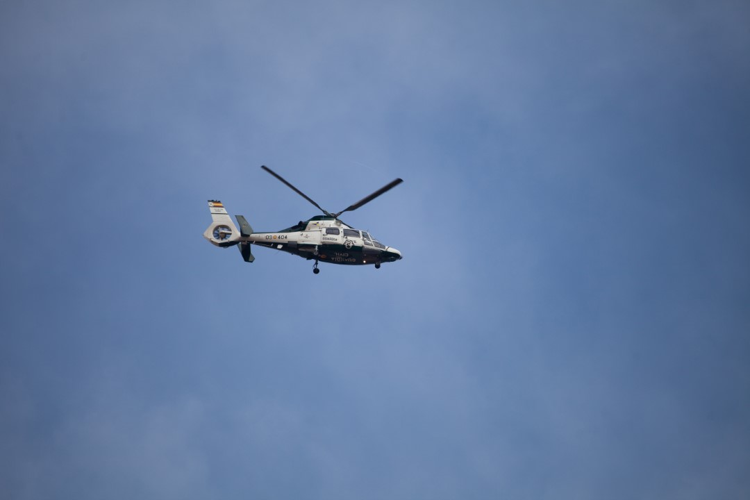 A Civil Guard helicopter flies over Sabadell on the day of the Judas operation. Sabadell, Barcelona; September 23, 2019.