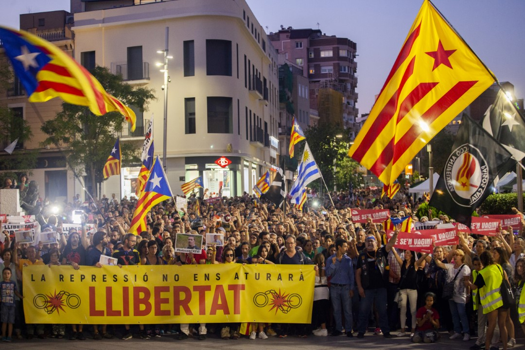 """12,000 people turn to the detainees of the 23-S of Operation Judas"""". Sabadell, Barcelona; September 29, 2019."""
