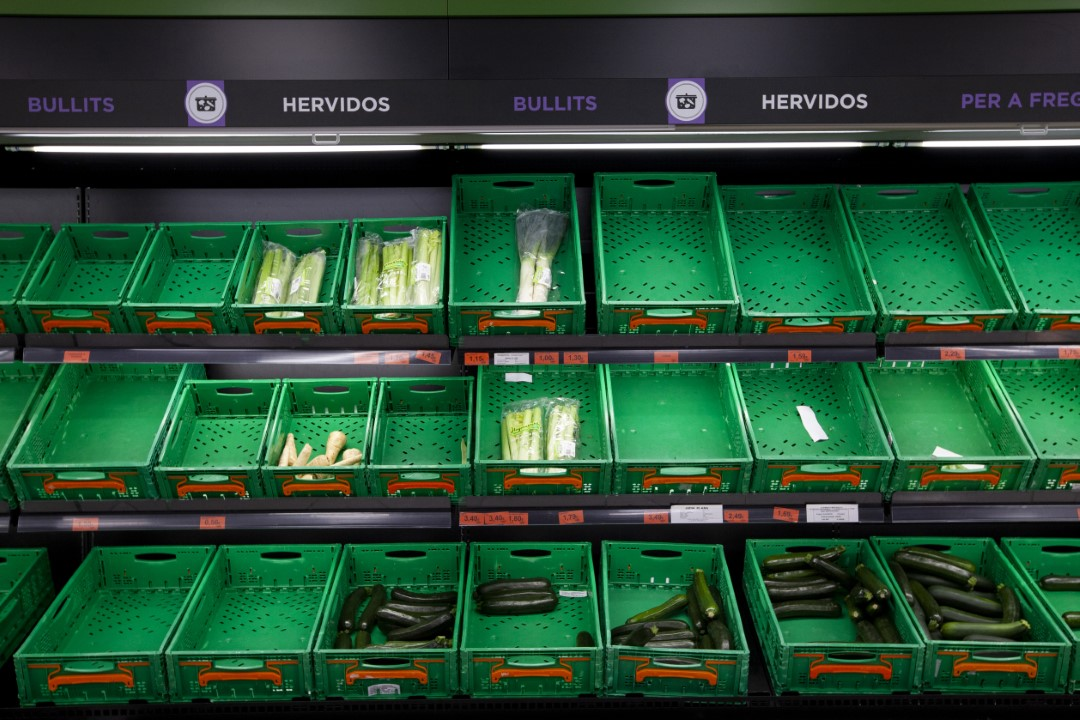 The fear of the closure of establishments and the forecast for confinement in the coming days due to the coronavirus, has triggered sales in supermarkets to 200%. Image of the company Mercadona, empty shelves and without kind. March 13, 2020; Sabadell, Barcelona.