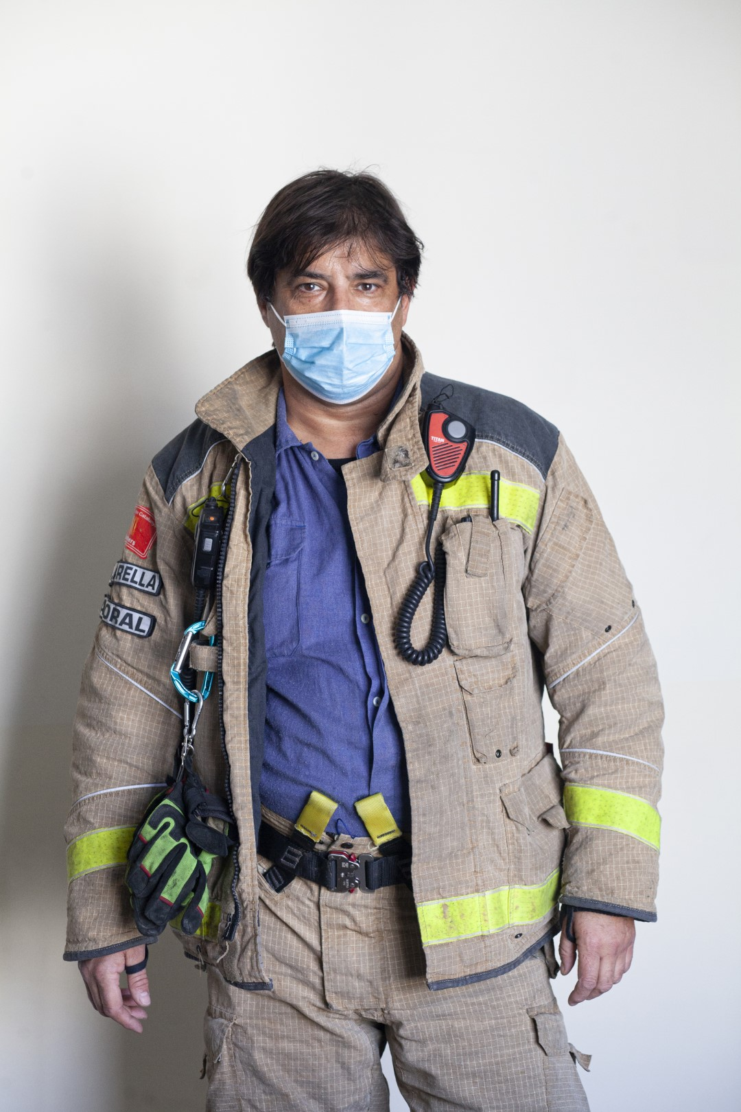 To the front line. Faces from different sectors that stand firm in the fight against COVID-19. Joan Bernat Clarella, firefighter. April 9, 2020; Sabadell, Barcelona.